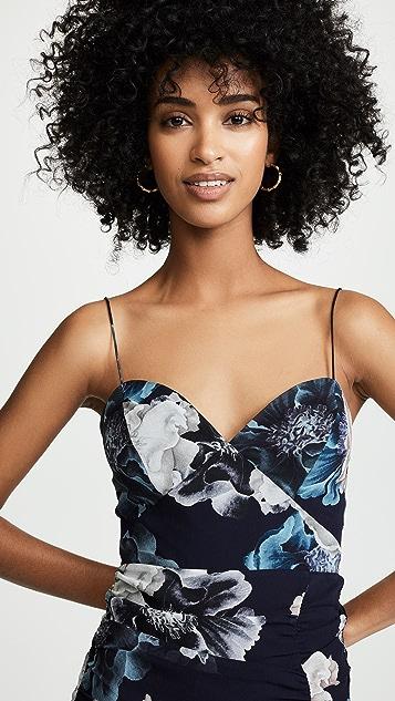Nicholas Многослойное темно-синее платье с цветочным рисунком и завязками