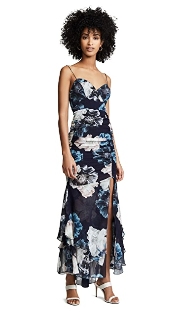 Nicholas Navy Floral Drawstring Layered Dress
