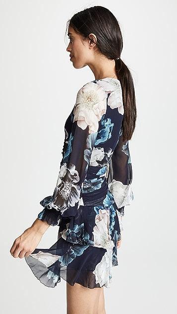 Nicholas Floral Pintuck Long Sleeve Mini Dress