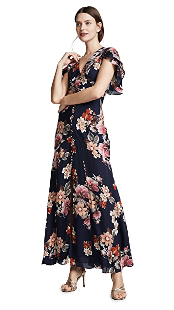 Nicholas Navy Rust Floral Layered Pintuck Dress