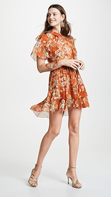 Nicholas Orange Floral Ruffle Cascade Dress