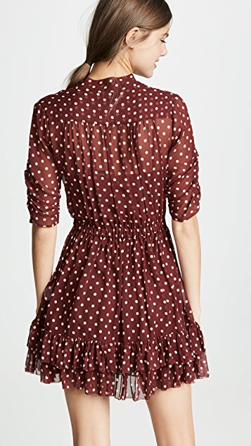 Nicholas Polka Dot Ruffle Mini Dress