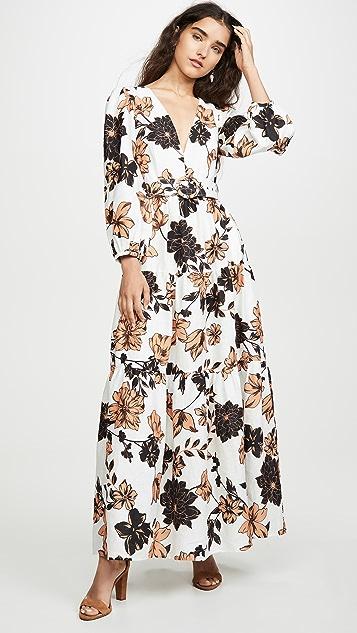 Nicholas Linen Tiered Maxi Dress
