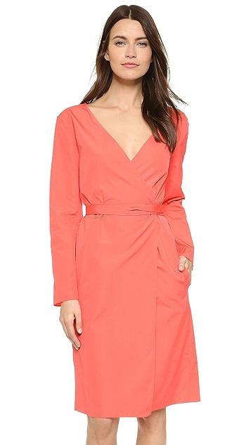 Nina Ricci V Neck Poplin Dress