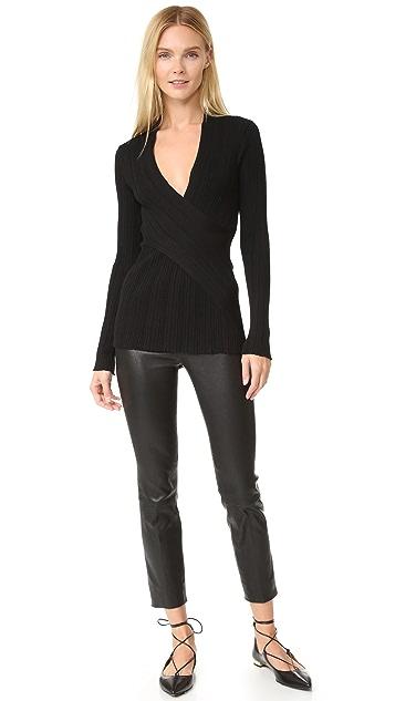 Nina Ricci Silk Wool Wrap Front Sweater