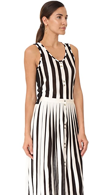 Nina Ricci Sleeveless Striped Knit Dress