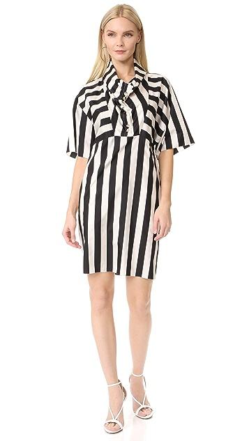 Nina Ricci Striped Cowl Neck Dress