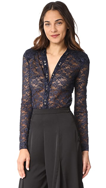Nina Ricci Stretch Lace V Neck Bodysuit
