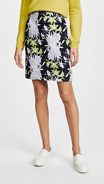 Nina Ricci Flowers Printed Waffle Skirt