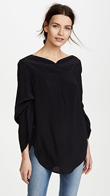 Nina Ricci Boat Neck Blouse with Adjustable Sleeves