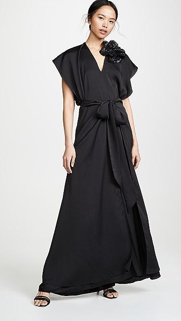 Nina Ricci Fluid Seersucker Dress - Black