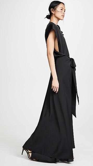 Nina Ricci Струящиеся платье из ткани в крепированную полоску