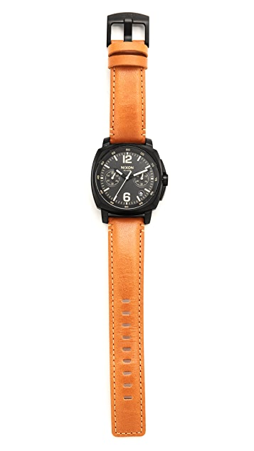 Nixon Charger Chronograph Leather Watch