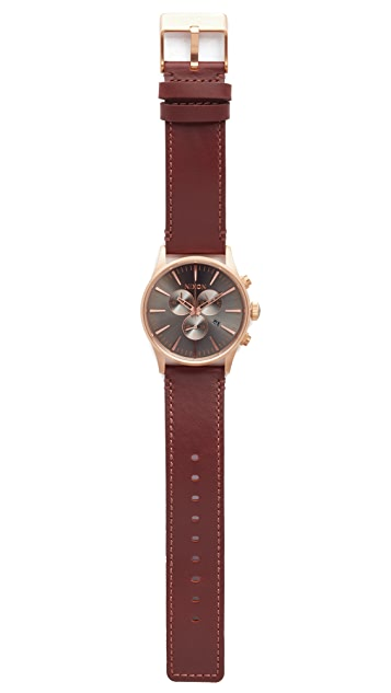 Nixon The Sentry Chronograph Leather Watch