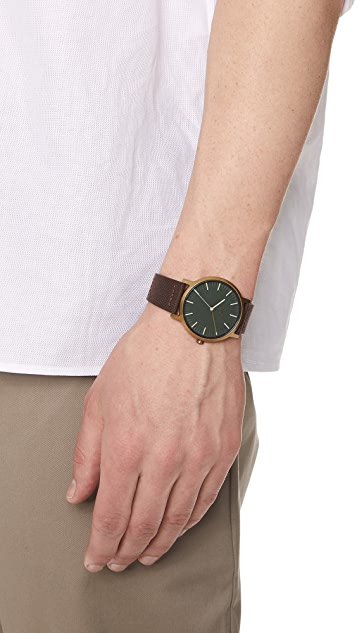 Nixon Porter Leather Strap Watch, 46mm