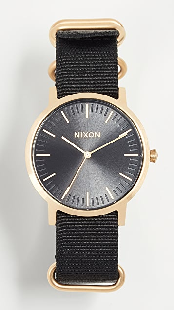 Nixon Porter Nylon Watch, 40mm - Gold/Black