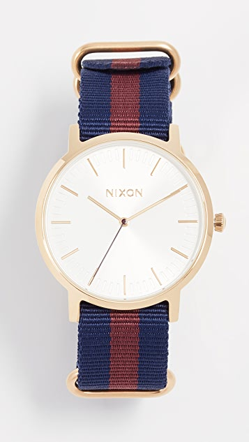 Nixon Porter Nylon Watch, 40mm - Gold/White/Red