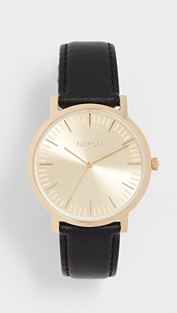 Nixon Porter Leather Watch, 41mm