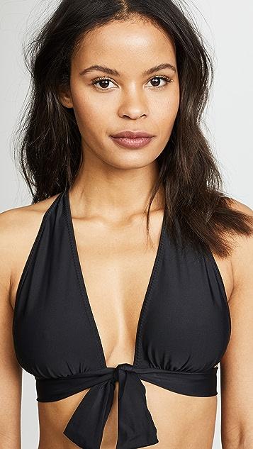 Norma Kamali Halter Front Tie Bikini Top