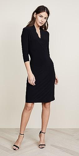 Norma Kamali - 长袖侧垂褶连衣裙