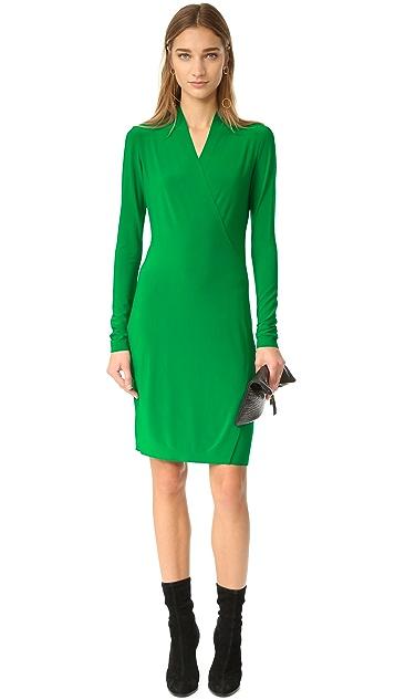 Norma Kamali Kamali Kulture Long Sleeve Side Drape Dress