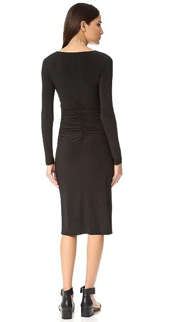 Norma Kamali Kamali Kulture V Neck Shirred Dress