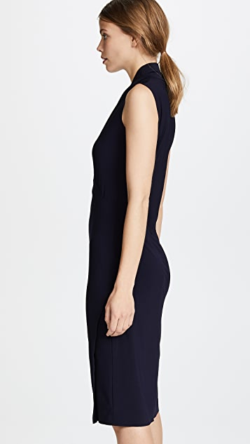 Norma Kamali Sleeveless Side Drape Dress