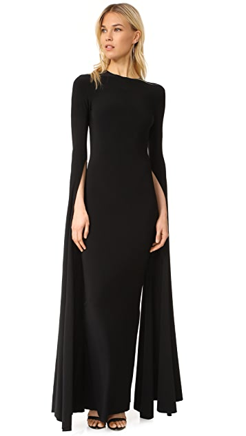 Norma Kamali Ribbon Sleeve Fitted Gown