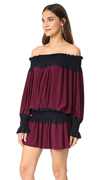 Norma Kamali Spliced Peasant Dress