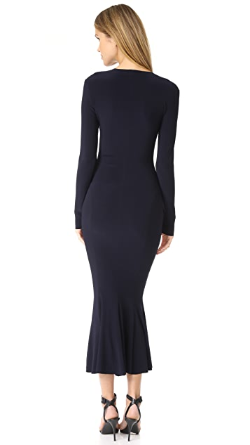 Norma Kamali Long Sleeve V Neck Fishtail Dress