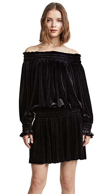 Norma Kamali Velour Peasant Dress