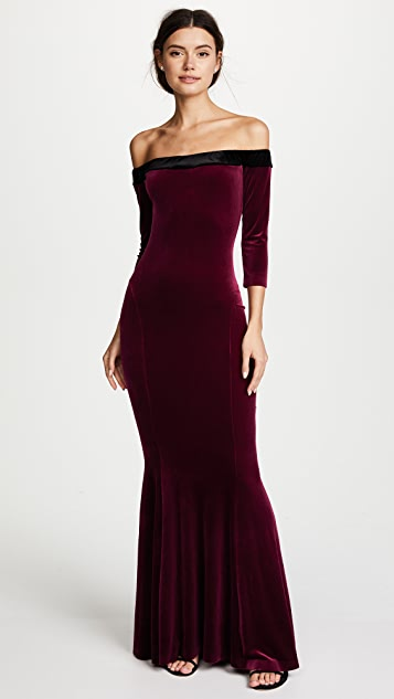 Fishtail Gown in Burgundy. - size S (also in L,M,XS) Norma Kamali