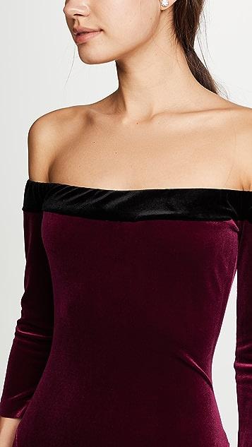 Norma Kamali Velour Fishtail Gown