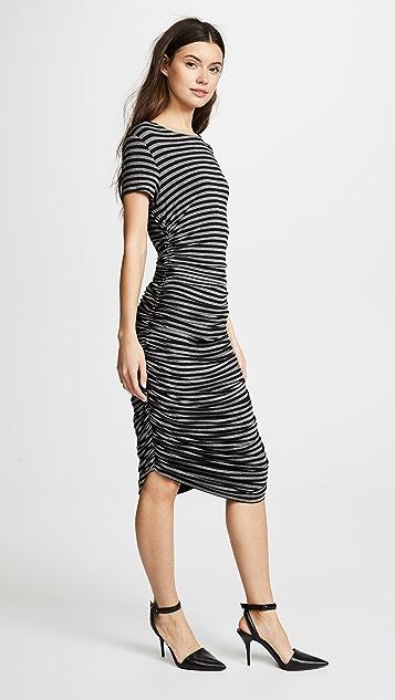 Norma Kamali Short Sleeve Crew Neck Shirred Dress