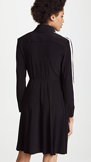Norma Kamali Side Stripe Shirt Flared Dress