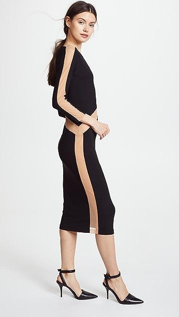 Norma Kamali Spliced Long Sleeve Dress