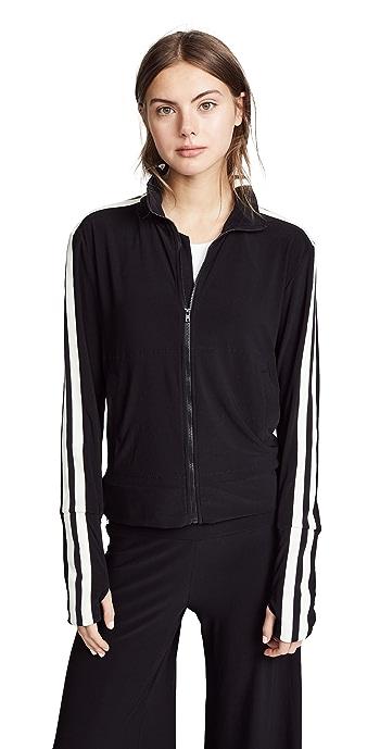 Norma Kamali Side Stripe Turtle Track Jacket - Black/Engineered Stripe