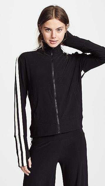 Side-Stripe Turtle Athletic Jacket, Gray Norma Kamali
