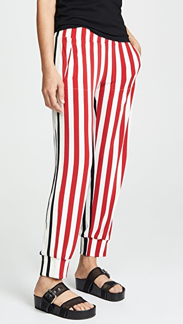 Norma Kamali Side Stripe Jogger Pants
