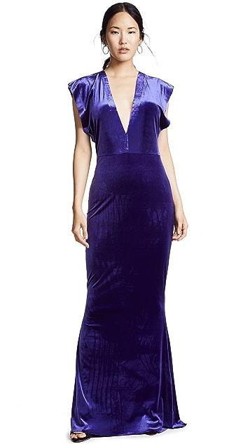 Norma Kamali Velvet Rectangle Gown