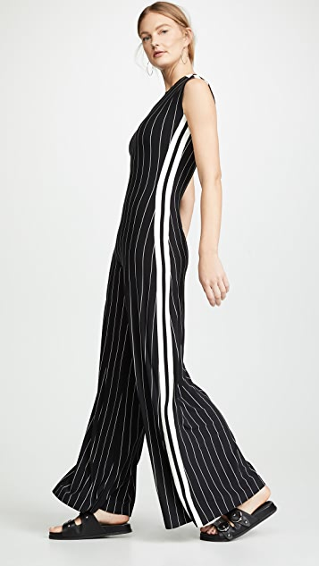 Norma Kamali Side Stripe Sleeveless Jumpsuit