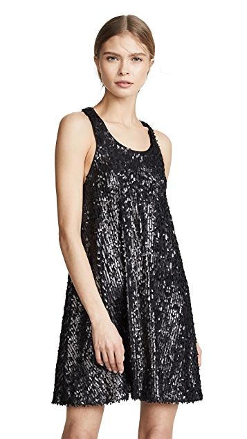 Norma Kamali Allover Sequin Flared Dress