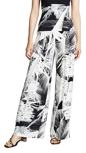 Norma Kamali Side Stripe High Waist Pleat Pants