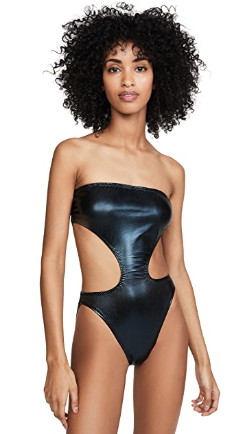 Norma Kamali Side Cut Out Bishop One Piece