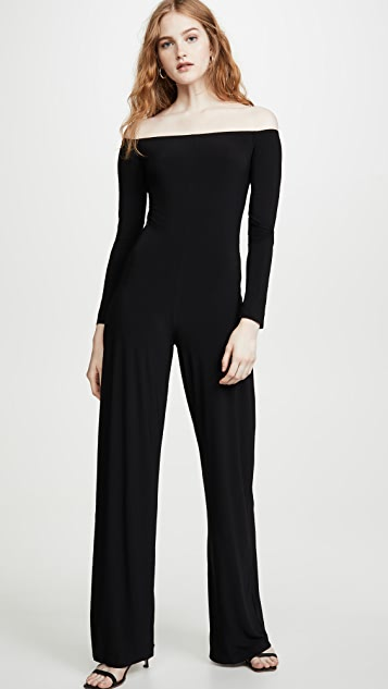 Norma Kamali Long Sleeve Off The Shoulder Jumpsuit