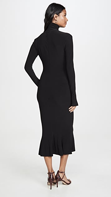 Norma Kamali Платье с подолом «рыбий хвост» и воротником под горло