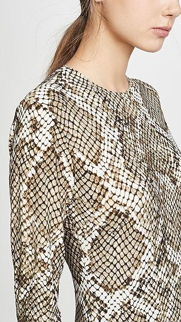 Norma Kamali 长袖圆领鱼尾连衣裙