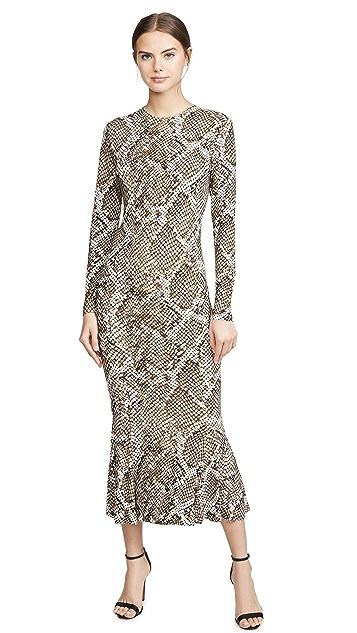 Norma Kamali Long Sleeve Crew Fishtail Dress