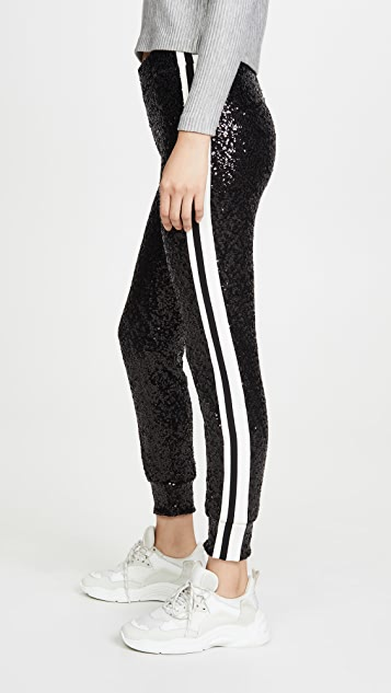 Norma Kamali Pants Overlapping Sequin Side Stripe Joggers