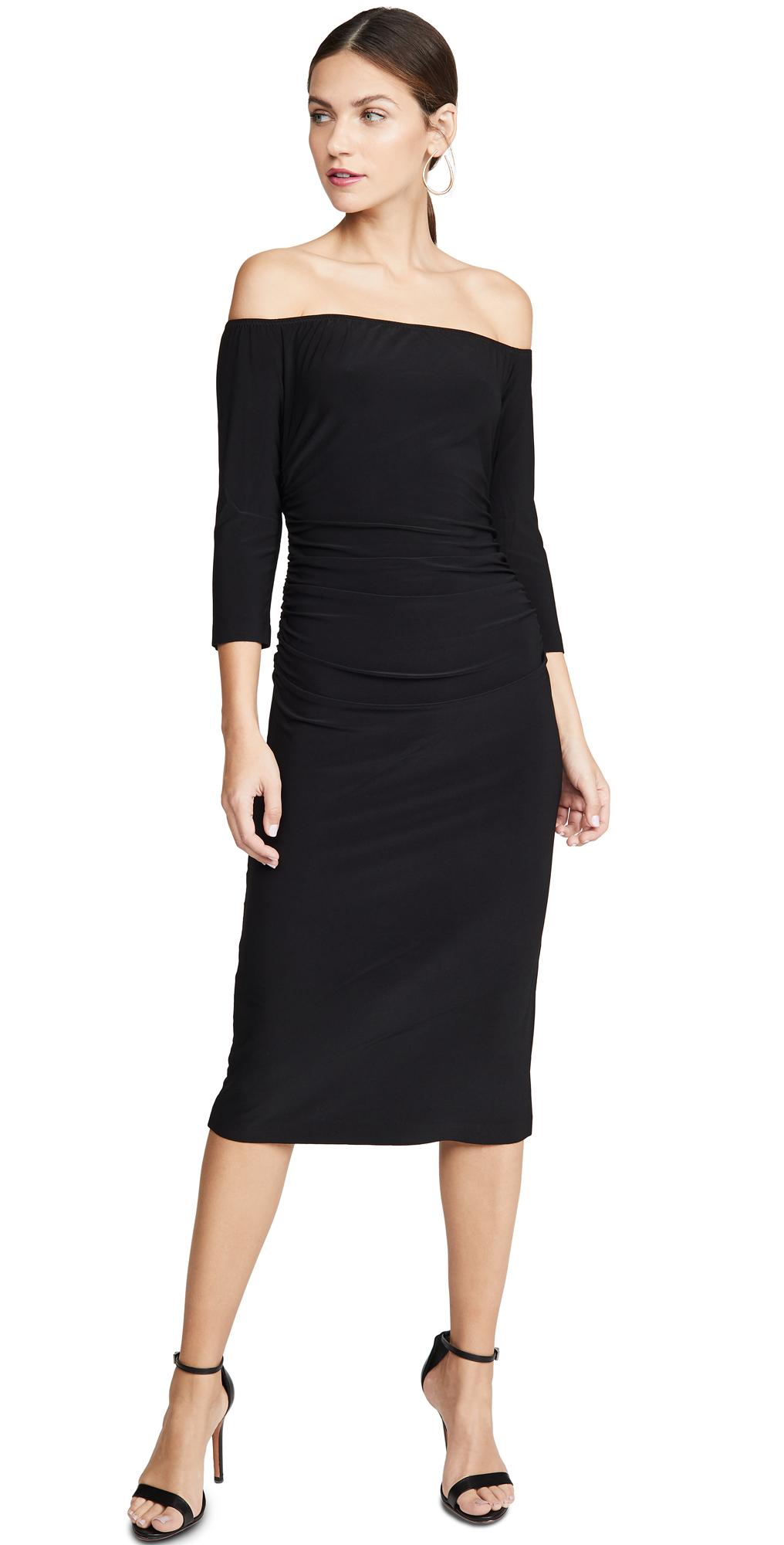 Norma Kamali Off The Shoulder Shirred Waist Dress